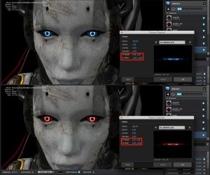 Eye colors were tweaked through the UV Offset and UV Repeat coordinates