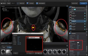 The red box on the left indicates the emissive map texture that applies to this particular model. The red box on the right shows the tweaks that can be made within Element 3d in order to make the Illuminated pieces of the model (show in the red circles) more apparent.
