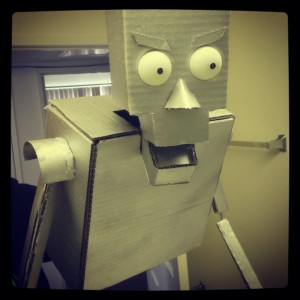 All limbs glued on and painted. - DIY Cardboard Robot Puppet